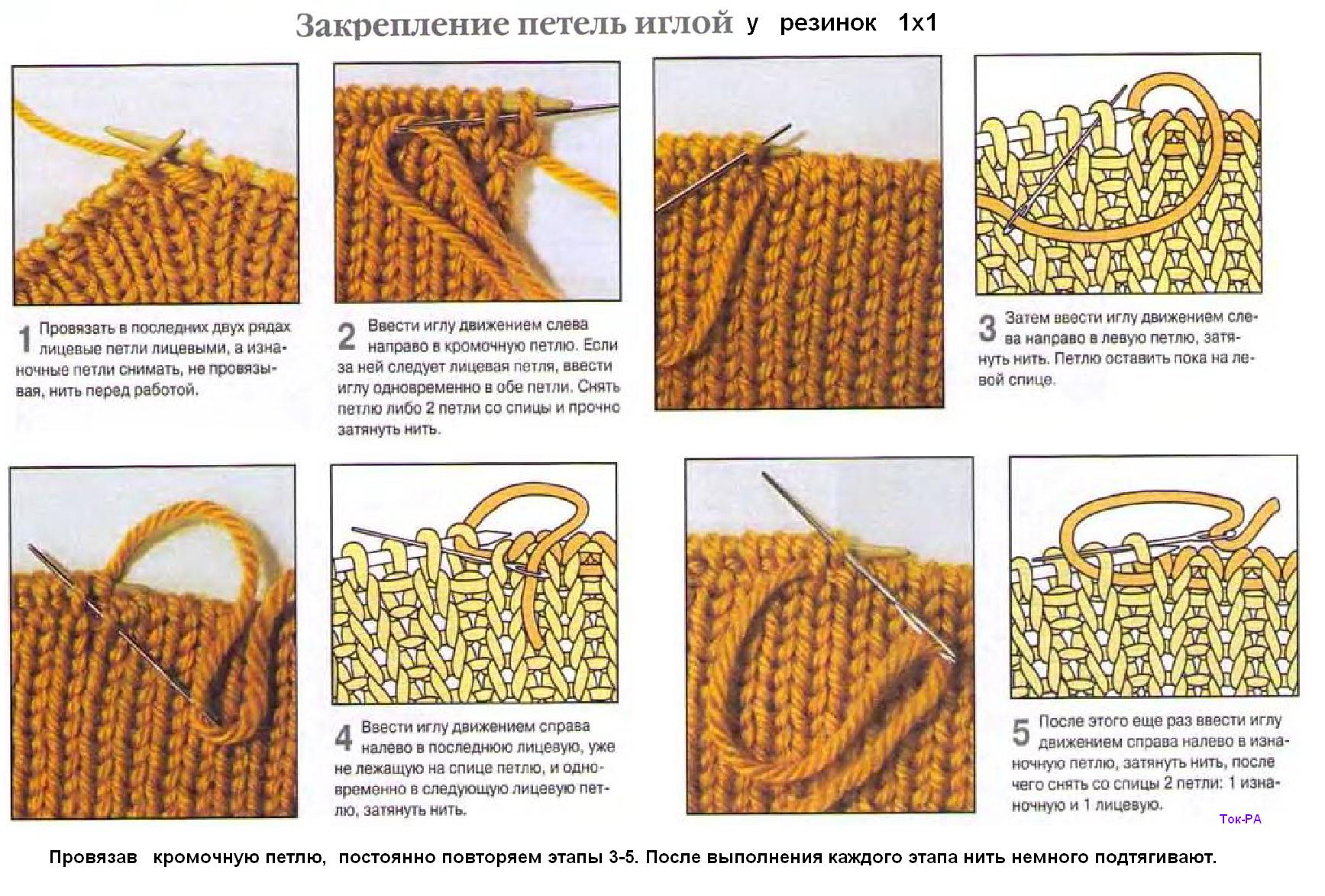 Полая резинка при круговом вязании спицами